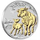 1 Ounce Year Of The Ox Silver Gilded 2021 Box Set
