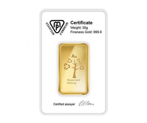 50 Gram Metalor Investment Gold Bar (999.9) image