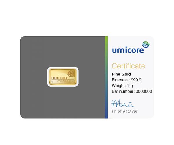 1 Gram Umicore Investment Gold Bar (999.9) image