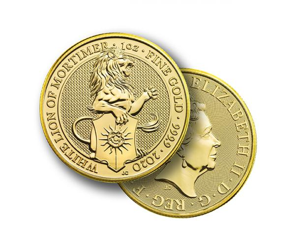 1 Oz Queen's Beast White Lion Of Mortimer Gold Coin image