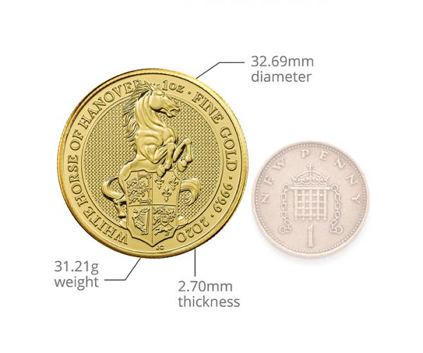 1 Ounce Queen's Beast The White Horse Of Hanover Gold Coin 999.9 image