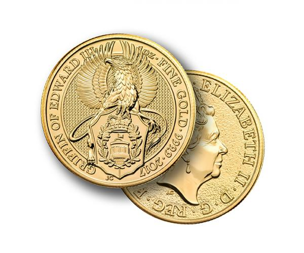 1 Ounce Queen's Beast Griffin Of Edward Gold Coin 999.9 image