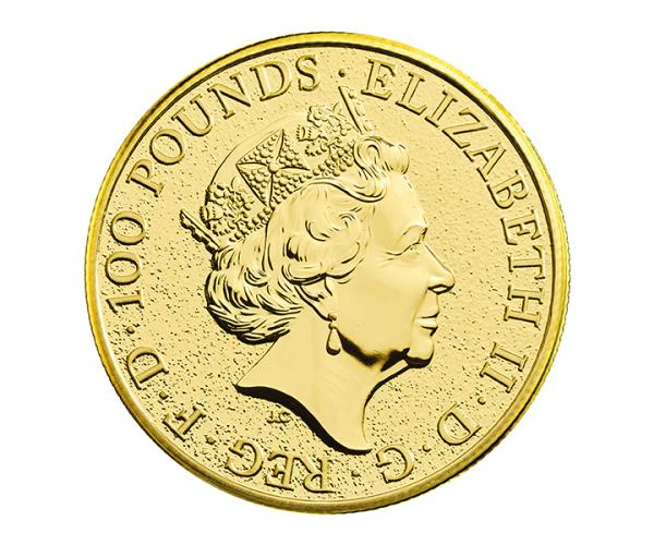 1 Oz Queen's Beast Red Dragon Of Wales Gold Coin image