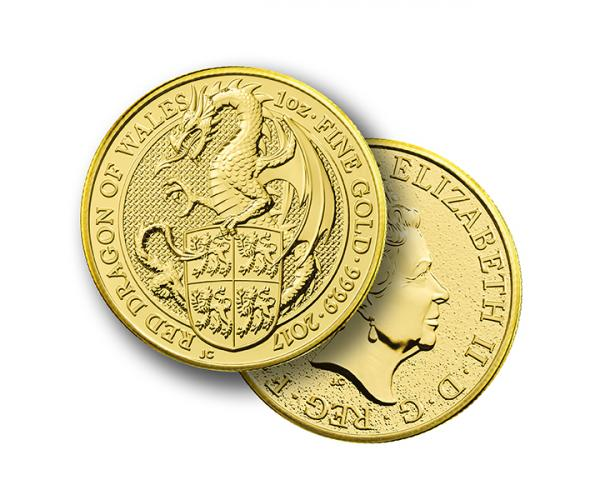 1 Ounce Queen's Beast Red Dragon Of Wales Gold Coin 999.9 image