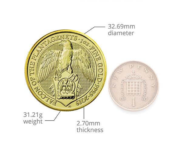 1 Oz Queen's Beast Falcon Of The Plantagenets Gold Coin image