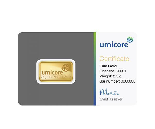 2.5 Gram Umicore Investment Gold Bar (999.9) image