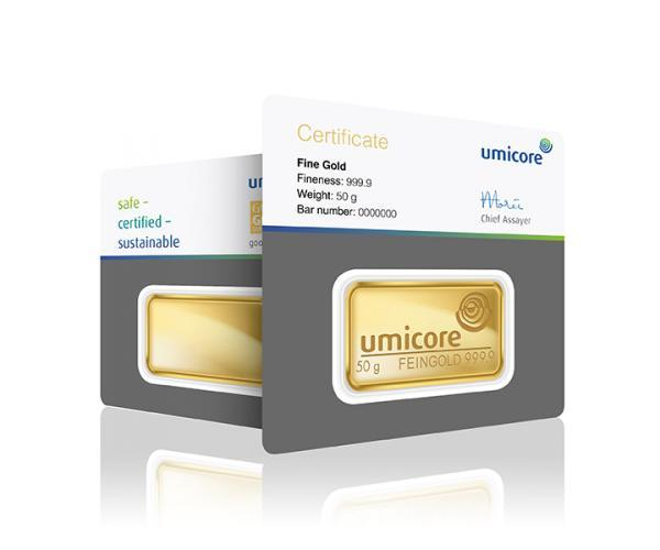 50 Gram Umicore Investment Gold Bar (999.9) image