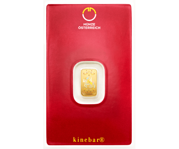 1 Gram Austrian Mint Investment Gold Bar Kinebar (999.9) image