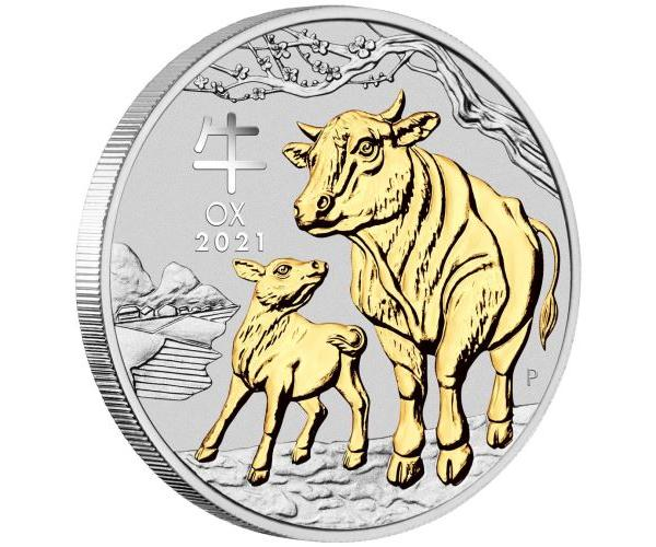 1 Ounce Year Of The Ox Silver Gilded 2021 Box Set image