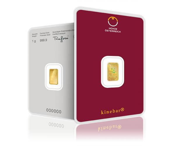 1 Gram Austrian Mint Investment Gold Bar Kinebar (999.9) image