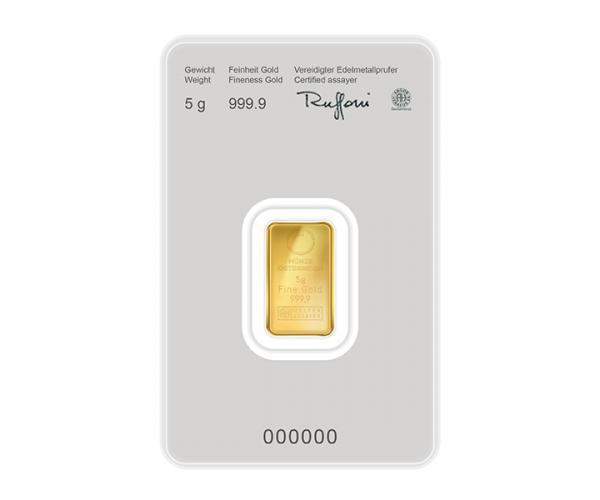 5 Gram Austrian Mint Investment Gold Bar Kinebar (999.9) image