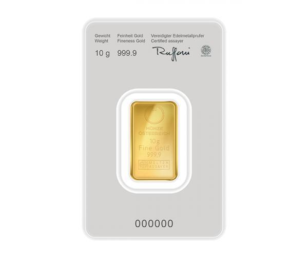 10 Gram Austrian Mint Investment Gold Bar Kinebar (999.9) image