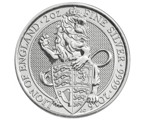 2 Ounce Queen's Beast The Lion Of England (2016) Silver Coin .999 image