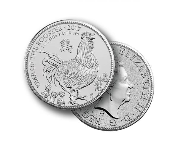 1 Ounce Lunar Rooster Silver Coin (Mixed Years) .999 image