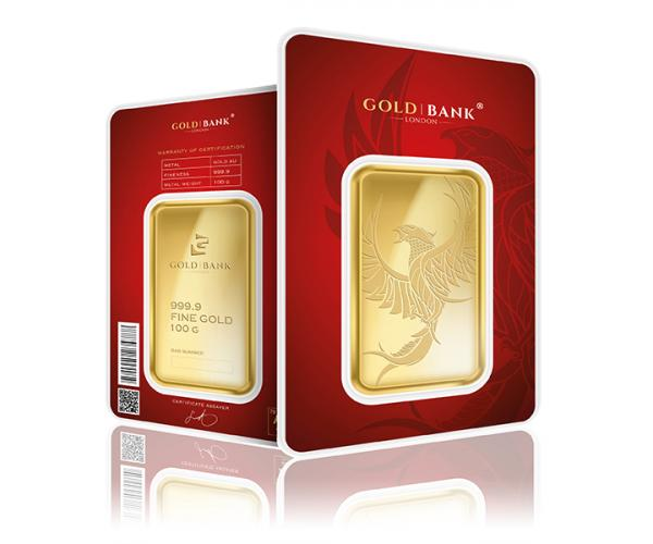 100 Gram Gold Bank Investment Gold Bar Phoenix Edition (999.9) image