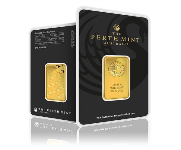 20 Gram Perth Mint Gold Investment Bar (999.9) image