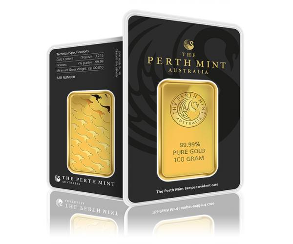 100 Gram Perth Mint Gold Investment Bar (999.9) image