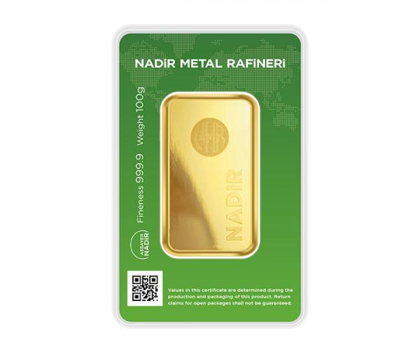 100 Gram Nadir Investment Gold Bar (999.9) image