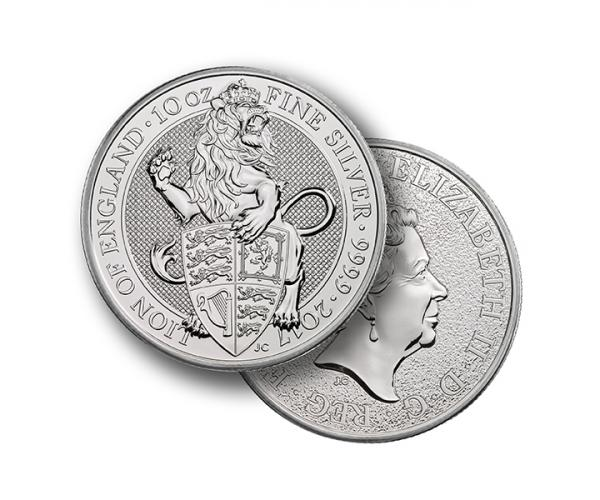 10 Ounce Queens Beast Lion Of England Silver Coin .999 image