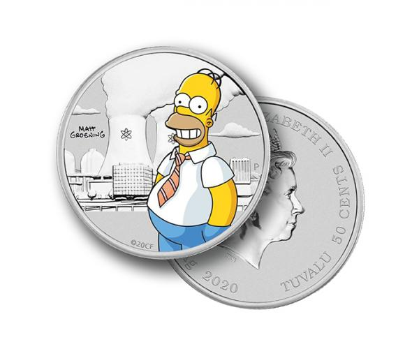 1/2 Ounce Homer Simpson Coloured Coin Silver In Card image