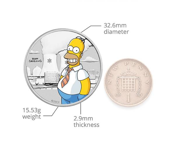 1/2 Oz Homer Simpson Coloured Coin Silver In Card image