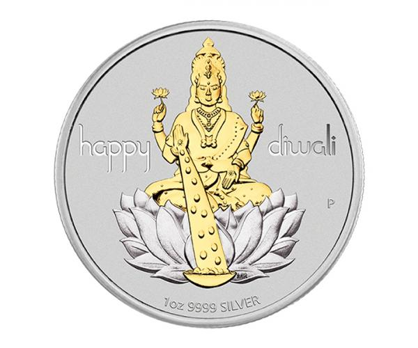 1 Oz Diwali Laxmi Gilded Medallion Silver Coin Gift Set image
