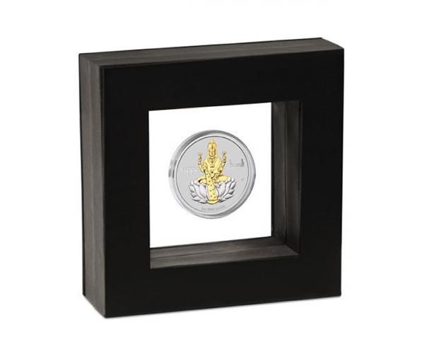 1 Ounce Diwali Laxmi Gilded Medallion Silver Coin Gift Set image