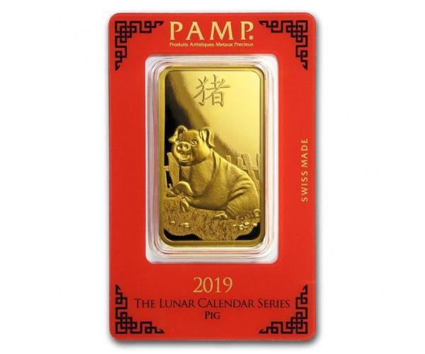 100 Gram PAMP Year of the Pig Gold Bar image