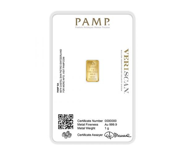 1 Gram PAMP Investment Gold Bar (999.9) image