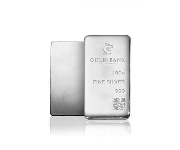 100 Gram Gold Bank Investment Silver Bar .999 image