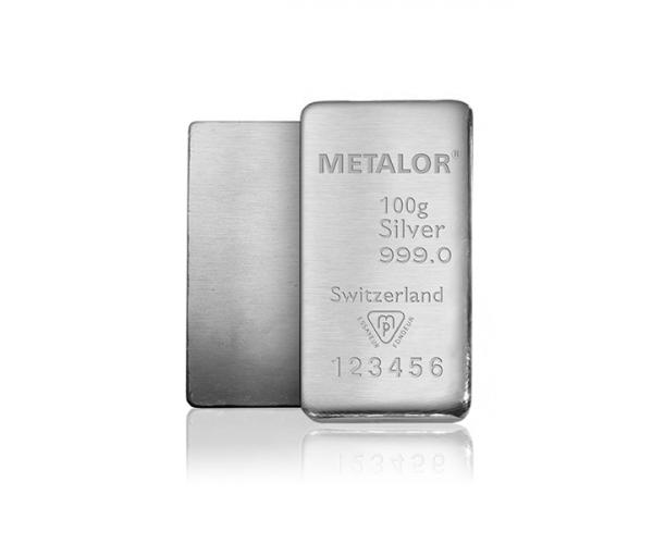 100 Gram Metalor Investment Silver Bar .999 image