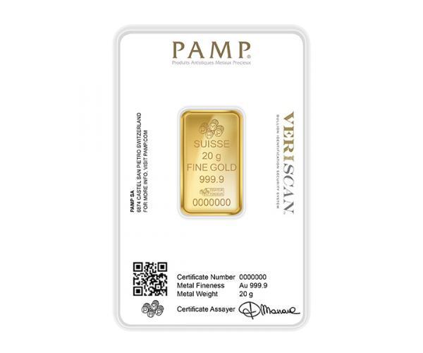 20 Gram PAMP Investment Gold Bar (999.9) image
