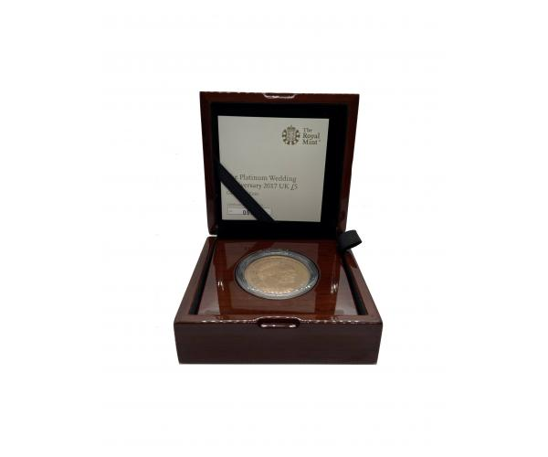 2017 Gold £5 Proof Crown, Platinum Wedding Anniversary Boxed image