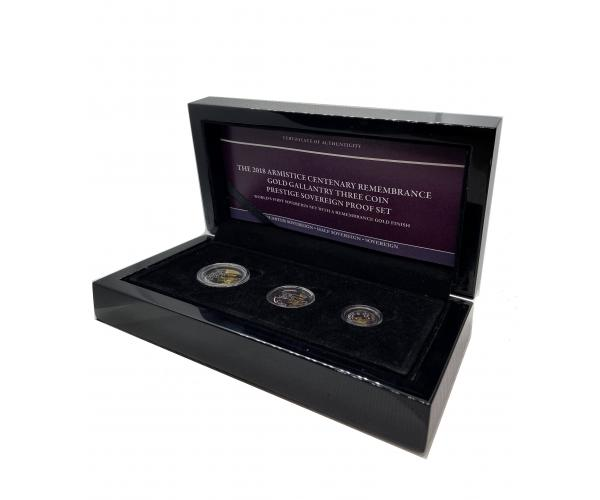 The 2018 Armistice Remembrance Gold Three Coin Sovereign Proof Set image
