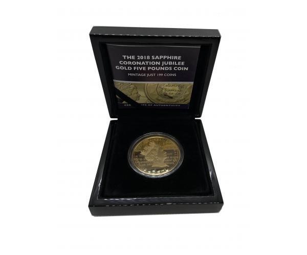 2018 Sapphire Coronation Jubilee Gold Five Pounds Coin Gift Box image