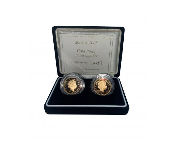 2004 & 2005 Gold Proof Sovereign Set With Certificate image