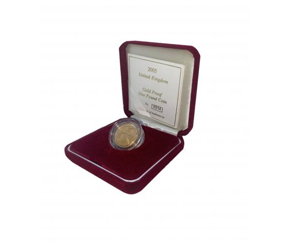 2005 UK Gold Proof One Pound Coin In Box image