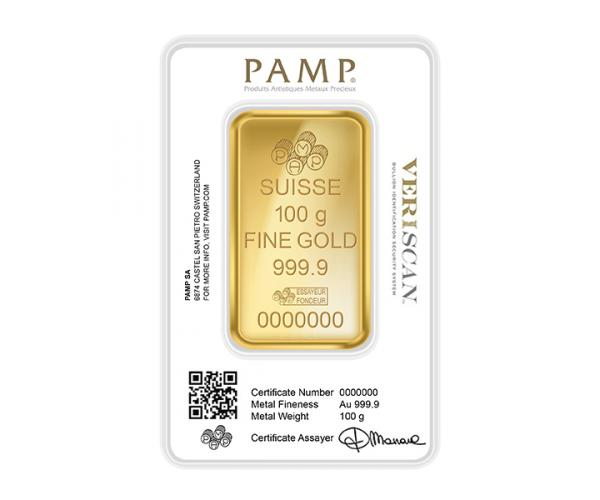 100 Gram PAMP Investment Gold Bar (999.9) image