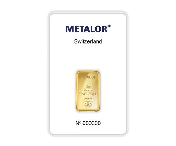 5 Gram Metalor Investment Gold Bar (999.9) image