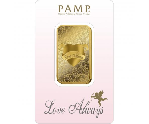 1 Ounce Love Always PAMP Investment Gold Bar (999.9) image