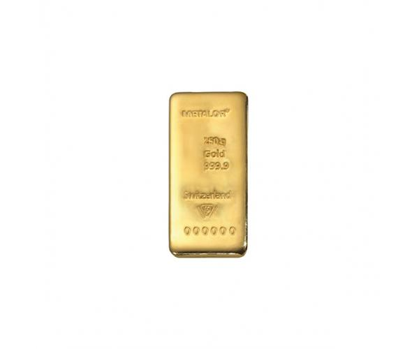 250 Gram Metalor Investment Gold Bar (999.9) image