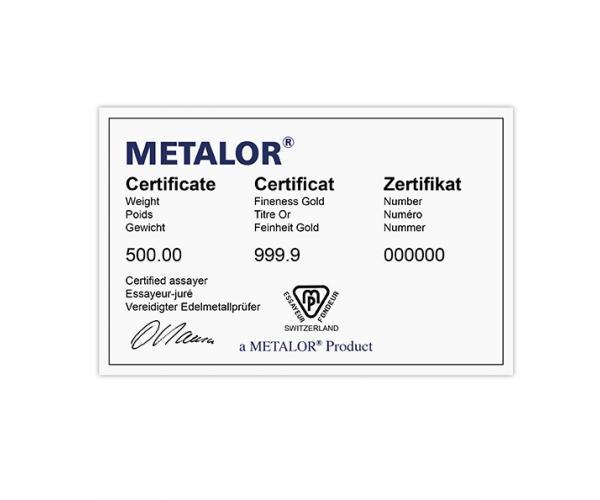 500 Gram Metalor Investment Gold Bar (999.9) image