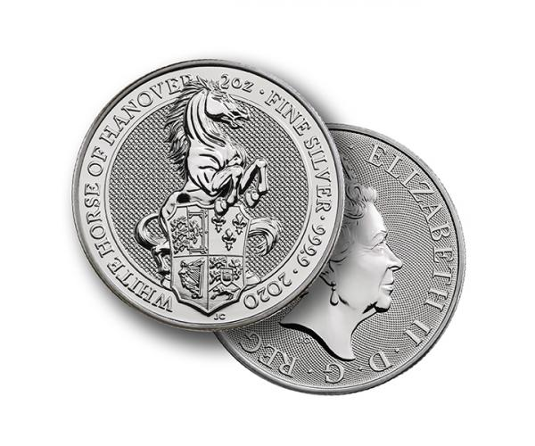 2 Ounce Queen's Beasts White Horse Of Hanover (2020) Silver Coin .999 image