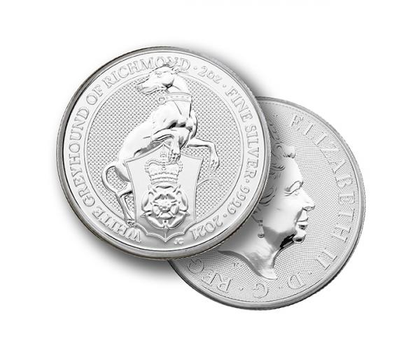 2 Ounce The Queen's Beast White Grey Hound 2021 Silver Coin .999 image