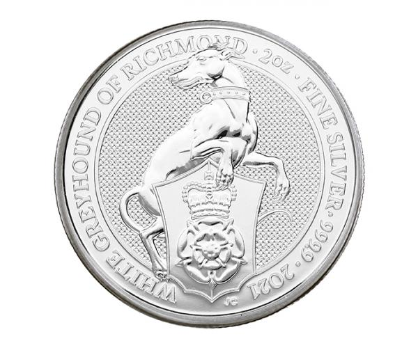 2 Ounce Queen's Beast White Greyhound Of Richmond (2021) Silver Coin .999 image