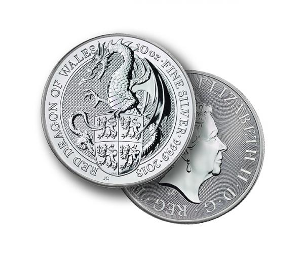 10 Ounce The Queen's Beast Dragon 2018 Silver Coin image