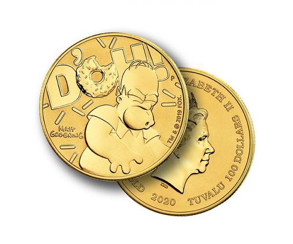 1 Ounce Homer Simpson 2020 Gold Coin image