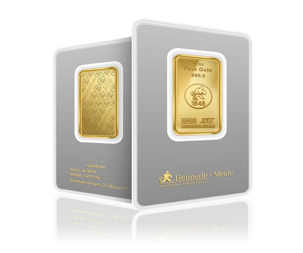 1 Ounce Heimerle + Meule Investment Gold Bar (999.9) image