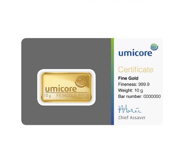 10 Gram Umicore Investment Gold Bar (999.9) image