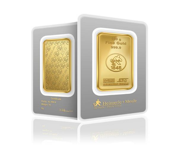 100 Gram Heimerle + Meule Investment Gold Bar .9999 image